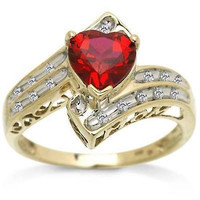 RED HEART SHAPPED 925 STERLING SILVER ENGAGEMENT AND WEDDING RING FOR HER