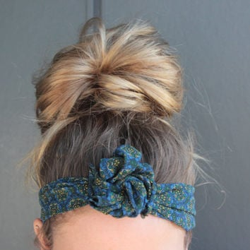 Boho Hippie Blue Green Floral Twist Head Scarf Dolly Bow Wire Headband Bun Wrap