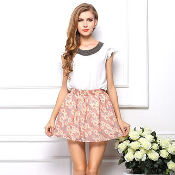 2015 New Summer Chiffon Skirt Casual Style Print Women Skirts Free Shipping 6 Colors Free Size