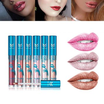 6pcs Non-stick Cup Metal Lipstick Set Waterproof Sparkling Lip Gloss Vivid Color Matte Lip Liquid Long Lasting Makeup Set