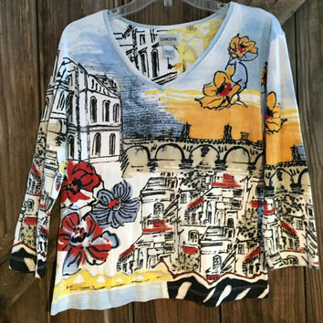 Chico's Artsy Scenic Print V-neck Top Size 1 Medium