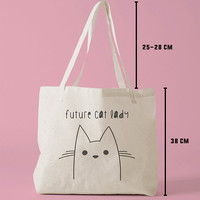 TBAG-334 - Future Cat Lady - Doodle - Drawing - Hipster - Printed Tote Bag Canvas - by HeartOnMyFingers