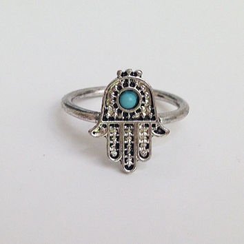 20% off-SALE!!! - Silver Hamsa Ring - Gold Hamsa Ring - Hand of Fatima Ring - Evil Eye Protection - Simple Ring - Everyday Ring - Good Luck