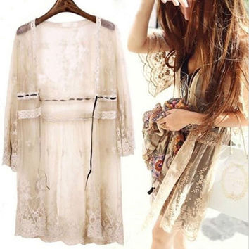 Sz S-5XL BOHO Womens Lace Crochet Beach cover ups Loose 3/4 Sleeve hollw Top shirt Blouse jacket = 1920124484