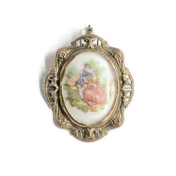 Courting Couple Cameo Pendant Brooch Pin, Fragonard Scene On Glass, In Ornate Brass Setting, Assemblage Of Vintage Jewelry