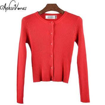 Women  O-neck Sweaters Cardigans Long Sleeved Knitted Jacquard Slim Lady