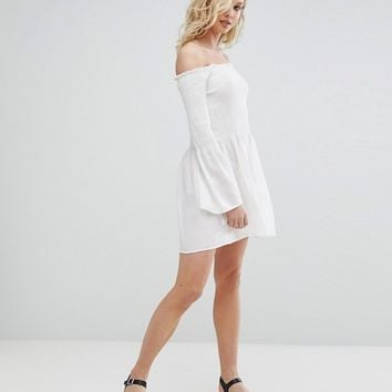 Missguided Shirred Bardot Swing Dress at asos.com