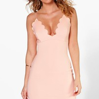 Sierra Plunge Neck Scallop Bodycon Dress