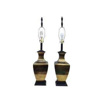 Pre-owned 1960s Modern Brass Large Table Lamps - A Pair