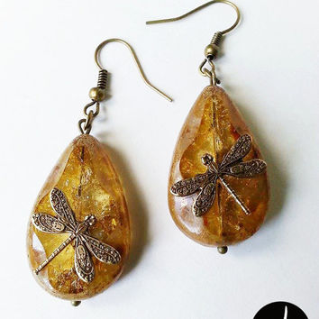 Dangling Dragonfly Amber Tear Drop Crackled Czech Glass Bronze Earrings - Outlander Inspired (ERDR005)