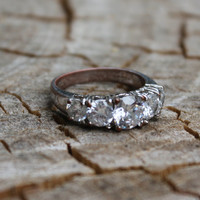 Vintage Silver Plated 5 Stone Wedding/Anniversary/Right Hand Ring