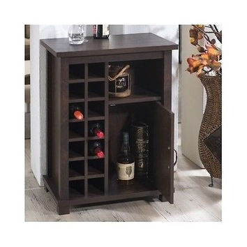 Wine Rack Storage Cabinet Wood Brown Floor Shelf Vintage Walnut Color 12  Bottle