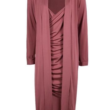 Isla Slinky Wrap Drape Dress & Duster Co-ord | Boohoo