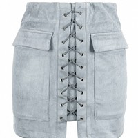 Gray Faux Suede Lace Up Front Pencil Mini Skirt - Choies.com