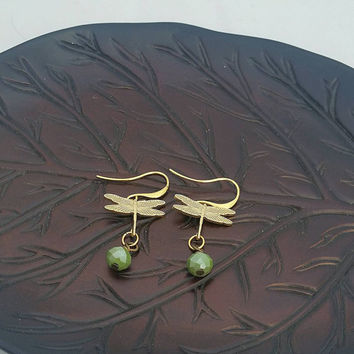 Dragonfly - gold dragonfly earrings - petite earrings - gold and green earrings  - dainty dragonflies -