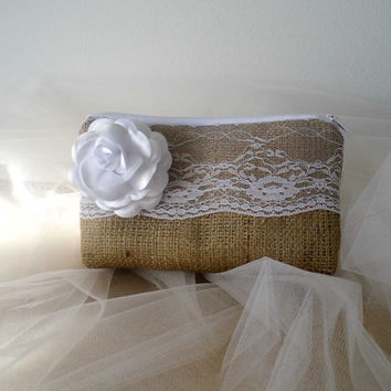 Rustic burlap and lace bridesmaid clutch rustic wedding shabby chic clutch rustic wedding accessory set of 8