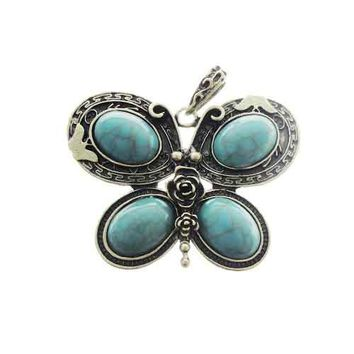AB-0109 - Antique Brass Pewter Butterfly Pendant With Howlite Stones, 1 Pc