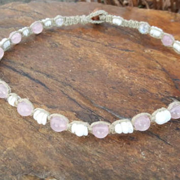 Hemp Choker, Gemstone Choker, Puka Shell Necklace, Rose Quartz Choker, Hemp Shell Necklace, Handmade Jewelry, Hemp Necklace, Surfer Girl