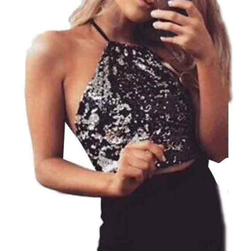 1PC Womens Backless Sequins Vest Strapless Ladies Fashion Tops New Arrival J170109