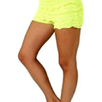 Crochet lace layered shorts with banded waist, Neon Yellow