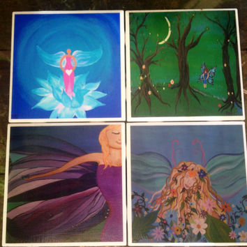 Wings and Fairies- Set of 4, Tile Coasters, original art, paintings, gift, OOAK