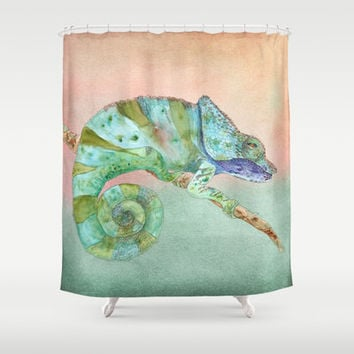 Karma Chameleon Shower Curtain - Beautiful Illustration, green, teal and peach lizard, bathroom, unique, funky, decor