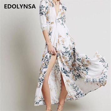 DKLW8 New Arrivals Beach Cover up Chiffon Print Swimwear Ladies Saida de Praia Beach Long Dress Tunic Women Kaftan Robe de Plage #Q161