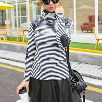 Striped Long Sleeve Turtleneck with Leather Accent T-Shirt