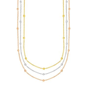 Necklace with Textured Beads in 10K Tri Color Gold