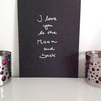 I love you to the moon and back - silver on black - DIN A4 - Wall Art Print handmade written - original by misssfaith