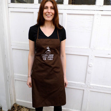 Funny Coffee Drinking Apron - Embroidered Kitchen Apron