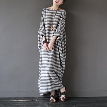 SCUWLINEN 2018 Summer Women Dresses Vintage Striped Batwing Sleeve Robe Maxi Long Loose Plus Size Linen Dress Casual Robe S193