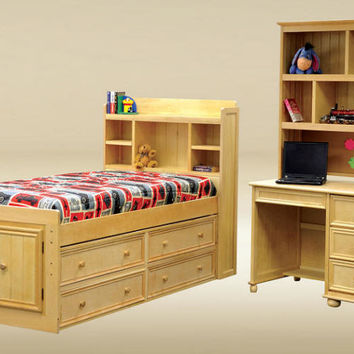Kimson Twin Size Bookcase Captain's Bed