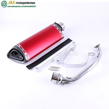 Motorcycle modified Scooter GY6 125cc 150cc contact middle pipe + muffler exhaust fit 157qmj 152qmi 4 Stroke engine slip on