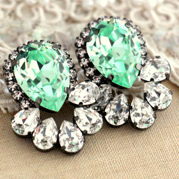 Mint earrings, Mint swarovski statement earrings, Mint green crystal earrings,estate jewelry, Bridal jewelry, Halo earrings, Mint and white