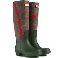 HUNTER ORIGINAL CHECK TALL DARK OLIVE WELLINGTON BOOTS GREEN Wool NIB WELLIES