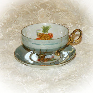 Vintage Demitasse Cup & Saucer Pineapple Motif Lusterware Blue Gold Cup Set