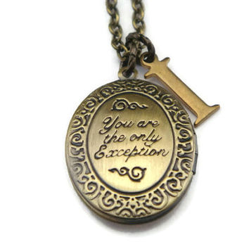 You Are The Only Exception Locket Necklace, Personalized Necklace, Photo Locket Charm, Vintage Jewelry, Vintage Locket, Initial Monogram