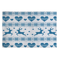 Natt Knitting Blue Deer With Hearts Woven Rug