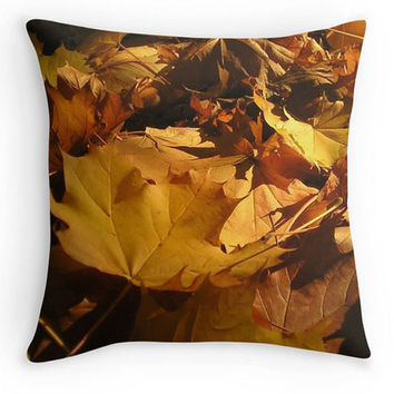 Autumn Leaf Decorative Throw Pillow, Golden Brown Photo Scatter Cushion, 16x16, Fall Cushion Cover