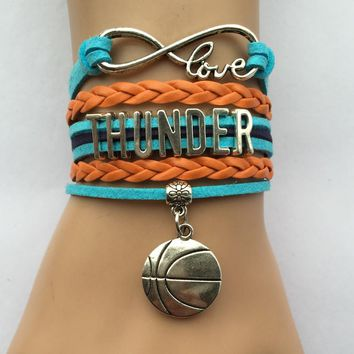 Drop Shipping Infinity Love Oklahoma Thunder Bracelet- Basketball Charm Sports Team Friendship  Gift