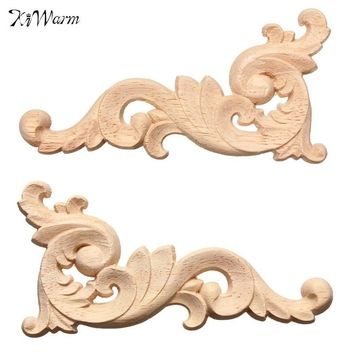 KiWarm 1PC Woodcarving Decal Wooden Carved Corner Applique Frame Wall Doors Furniture Door Decor Decorative Sculptures 12x6cm