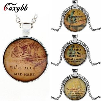 Gaxybb Alice In Wonderland Cheshire Cat Art Photo Dome Chain Pendant Jewelry Chain Necklace Girl Charms Pendant