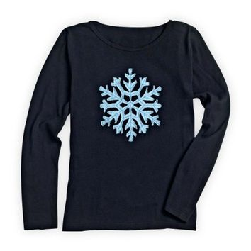 54333c206ac Green 3 Apparel Long-sleeve Applique Snowflake Organic Made-in-USA T-