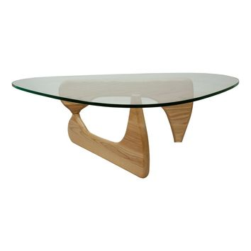 Tribeca Clear Glass Top & Wood Base Modern Coffee Table