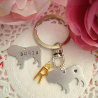 English Bulldog Hand Stamped Keychain With Name Or Design And Initial Charm In Gold Silver Antique Bronze