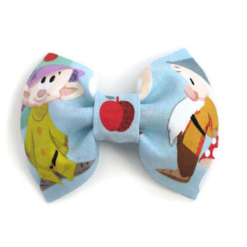 Baby/ Girls Fabric Hair Bow Made With Disney Snow White and the Seven Dwarfs Fabric, Girls Fabric Bow on Alligator Clip with No Slip Grip