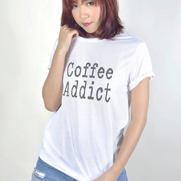 Coffee Addict Graphic Printed Tee