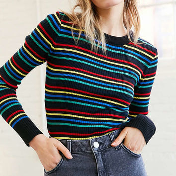BDG Lily Glitter Stripe Crew-Neck Sweater - Urban Outfitters