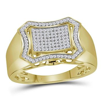 10kt Yellow Gold Men's Round Diamond Curved Octagon Cluster Ring 3/8 Cttw - FREE Shipping (US/CAN)